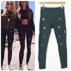 JESSICA SIMPSON Green Star The Warmup Leggings Med
